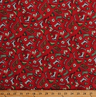 Flannel Christmas Joys Winter Scarves Hats Mittens Ice Skates Sleds Hot Chocolate Red Holiday Cotton Flannel Fabric Print by the Yard (MASF9004-R)