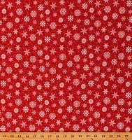 Flannel Snowflakes Red Winter Christmas Holiday Festive Snow Bird 2-Ply Cotton Flannel Fabric Print by the Yard (9117-88)