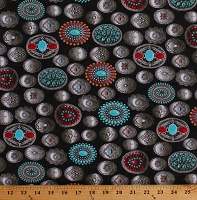 Cotton Western Belt Buckles Conchos Southwestern Cowboys Cowgirls Ranch Equestrian Cotton Fabric Print by the Yard (51390-2)