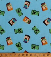 Cotton Minecraft Video Game Alex Steve Creepers Day Mobs on Blue Level Up Kids Cotton Fabric Print by the Yard (67253-6510715)