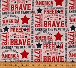 Cotton Holiday Independence Day Patriotic American Free Brave Words Let Freedom Soar White Cotton Fabric Print by the Yard (C10520)