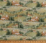 Cotton Italian Landscape Tuscany Tuscan Scenery Italy Villas Travel Globetrotter Bella Toscana Cotton Fabric Print by the Yard (51355-X)