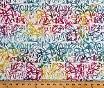 Cotton Batik Scribbles Splotches Art Design Hand Dyed Colorful Cotton Fabric Print by the Yard (989-Q)