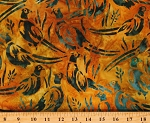 Cotton Batik Birds Parrots African Safari Animals Wildlife Sanctuary Multi Color Cotton Fabric Print by the Yard (AMD-19094-209-SUNBURST)