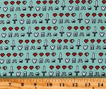 Cotton Minecraft Icons Hearts Shirts Pants Shoes Boots Clothes Clothing Swords Green Cotton Fabric Print by the Yard (67002-J520715)