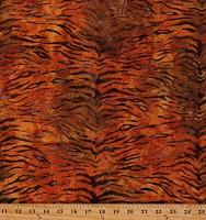 Cotton Tiger Stripes Brown Safari Animal Serengeti Orange Cotton Fabric Print by the Yard (AMD-20198-141-SAFFRON)