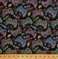 Cotton Gaming Controllers Videogames Player Gadgets Technology Kids Black Cotton Fabric Print by the Yard (112606)
