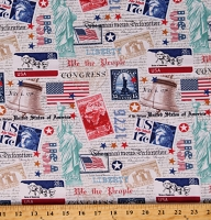 Cotton American Patriotic Post Cards Independence Day Constitution We The People White Cotton Fabric Print by the Yard (52586D-1)
