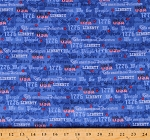 Cotton American Patriotic Independence Day Constitution We The People Blue Cotton Fabric Print by the Yard (52590-2)