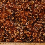 Cotton Batik Pineapples Coconuts Palm Tree Leaves Fruits Summer Beach Brown Batik Cotton Fabric Print by the Yard (965Q-3)