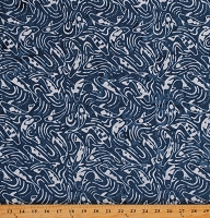 Cotton Batik Coyfish Blue Water Cotton Fabric Print by the Yard (06612-55)