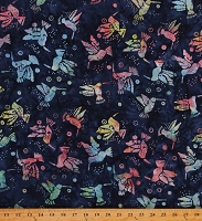 Cotton Batiks Hummingbirds Animals Flowers Rainbow Cotton Fabric Print by the Yard (Y2863Hummingbirds-89 Dark Denim)