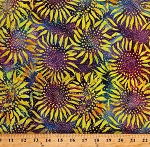 Cotton Batik Flowers Suns Sunflowers Colorful Rainbow Multicolor Cotton Fabric Print by the Yard (TONGA-B7713PLAY)