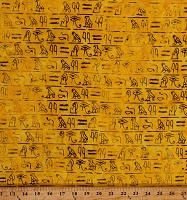 Cotton Batik Hieroglyphs Writing Words Yellow Cotton Fabric Print by the Yard (9041Q-2-YELLOW)