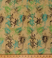 Cotton Batik Turtles Animals Ocean Land and Sea Tan Cotton Fabric Print by the Yard (9055Q-1-SAND)