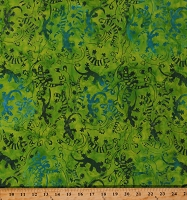Cotton Batik Lizards Animals Land and Sea Green Cotton Fabric Print by the Yard (9056Q-3-Green)