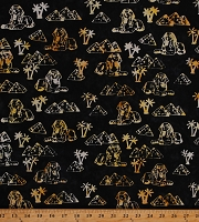 Cotton Batik Pyramids Trees Desert Sphinx Black Cotton Fabric Print by the Yard (9037Q-1-BLACK)