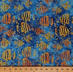 Cotton Batik Fish Ocean Animals Land and Sea Blue Cotton Fabric Print by the Yard (9060Q-2-Blue)