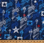 Cotton Patriotic Statue of Liberty Stars Star Spangled Lady Liberty on Blue Fourth of July USA American Independence Day Cotton Fabric Print by the Yard (7755P-55)
