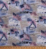 Cotton Patriotic Statue of Liberty American Flag Stars & Stripes Declaration of Independence Day Mount Rushmore Fourth of July Cotton Fabric Print by the Yard (USA-C9505-SKY)