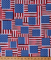 Cotton Flags American Flag Stars & Stripes Patriotic Star Spangled Independence Day Fourth of July Metallic Silver Shimmer Cotton Fabric Print by the Yard (7758P 86)