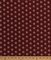 Cotton Beige Stars on Rust Red Patriotic Independence Day Fourth of July Reveille Cotton Fabric Print by the Yard (A-8982-NR)