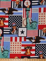 Cotton Independence Day USA Patriotic Motif American Flags Bald Eagles Liberty Bell Statue of Liberty Uncle Sam George Washington Stars & Stripes Cotton Fabric Print by the Yard (1561)