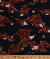 Cotton Bald Eagles Stars Patriotic USA Freedom National Birds on Navy Blue Pride of America Metallic Cotton Fabric Print by the Yard (14798)