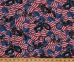 Cotton American Flags Motorcycles Patriotic Liberty Ride Cotton Fabric Print by the Yard (DP23431-44REDWHITE&BLUE)