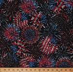 Cotton Fireworks Stars Independence Day 4th of July Celebration USA Patriotic American Flag Red White & True Black Cotton Fabric Print by the Yard (09703-12)