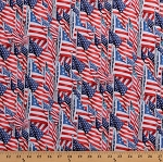 Cotton Flags All Over United States of America USA Stars and Stripes Cotton Fabric Print by the Yard (7099-D650715)