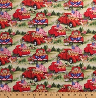 Cotton Patriotic Puppies in Trucks USA Flags Puppy Dogs Cotton Fabric Print by the Yard (6925-A620715)