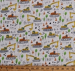 Cotton Kids Construction Vehicles Diggers Backhoe Cotton Fabric Print by the Yard (STELLA-1144 WHITE)