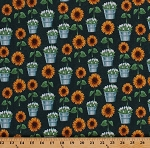 Cotton Sunflower Market Sunflowers Flowers Floral Tulips Farmer's Market Country Gardener Cotton Fabric Print by the Yard (50620-3)