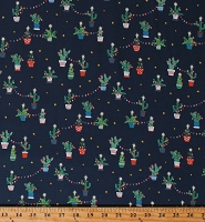 Cotton Christmas Cactus Holiday Cacti Festive Southwest Southwestern Lights Stars Blue Cotton Fabric Print by the Yard (STELLA-1229)