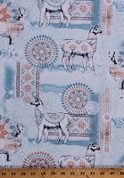 Cotton Llamas Tribal Southwest Fancy Animals Peach Aqua Cotton Fabric Print by the Yard (JB-C7196-AQUA)
