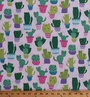 Cotton Cat Cactus Cacti Kittens Kitties Southwest Southwestern Potted Plants Cute Cats on Pink Cotton Fabric Print by the Yard (FUN-C7582)