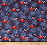 Cotton Mickey and Minnie Mouse Fireworks USA Fourth of July Trucks Cotton Fabric Print by the Yard (69981-B10710)
