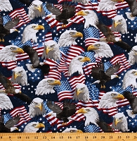 Cotton American Flag Eagles Stars Patriotism Patriotic Cotton Fabric Print by the Yard (USA-C5566)