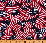Cotton American Flags Flying Allover Patriotic Independence Day Red White and Blue Cotton Fabric Print by the Yard (9350T-1E)