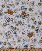 Cotton Hoffman Challenge 2019 Sunny California Vintage Tags Labels Ads Allover Digital Print Hoffman's First Stitch Cotton Fabric Print by the Yard (R4616-351-SUNNY)