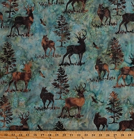 Cotton Batik Deer Buck Animals Northwoods Wildlife Pine Trees Woods Nature Bali Batik Cotton Fabric Print by the Yard (R2256-58-Earth)
