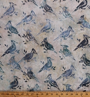 Cotton Batik Birds Blue Jays Woodpeckers Natural Combed Cotton Fabric Print by the Yard (AMD-17779-14NATURAL)