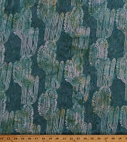 Cotton Batik Cactus Cacti Southwestern Desert Plants Turquoise Cotton Fabric Print by the Yard (MR16-61-TURQ)