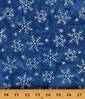 Cotton Snowflakes on Blue Winter Snow Joy to the World Cotton Fabric Print by the Yard (9019Q-4BLUE)