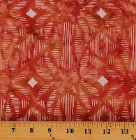 Cotton Batiks Peach Coral Hand-Dyed Ikat Sketch Cotton Fabric Print by the Yard (80084-33)