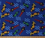 Fleece Racecars Dragsters Drag Racing Race Cars Vehicles Auto Racing Checkered Flags on Blue Fleece Fabric Print by the Yard (7836F-10C-racecar)