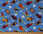 Fleece Airplanes Helicopters Biplanes Planes Vehicles Transportation Clouds on Blue Sky Kids Fleece Fabric Print by the Yard (7836F-10C-planes)