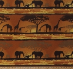 Fleece (not for masks) African Safari Animals Elephants Giraffes Trees Savanna Wildlife Sunset Fleece Fabric Print by the Yard (7836F-10C-africa)