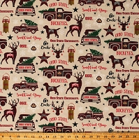 Cotton Ohio State University Holiday Print Buckeyes Brutus Christmas Northwoods Winter NCAA College Team Cotton Fabric Print by the Yard (OHS-1213)
